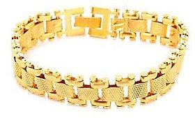 Goldnera Stylish Textured Gold Plated Men's Adjustable Bracelet