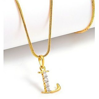 Valentine special pretty l alphabet pendant with chain goldnera gold plated gold pendants chains for women mozeypictures Choice Image