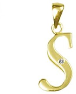 Kaara Alphabet 'S' Diamond & Gold Pendant - SAN-S