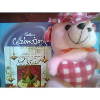 Teddy Bear With One Cadbury Chocolate Pack And  Greeting Card FOR ANY OCCASION