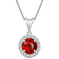 Silver Dew 925 Sterling Silver Halo Round Garnet CZ Diamond Pendant