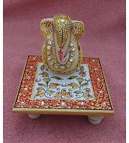 chitrahandicraft Marble Chowki Ganesh