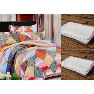 Valtellina Set Of 1 Bed Sheet & 2 Hand Towel (Combo-1_LID-003_HTW-002)