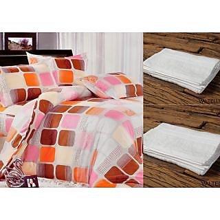 Valtellina Set Of 1 Bed Sheet & 2 Hand Towel(Combo-9_LID-016_HTW-002)