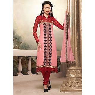 Swaron Red  Pink coloured Mix Cotton Salwar Suit 201D1006