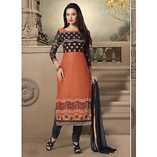 Swaron Black  Orange coloured Mix Cotton Salwar Suit 201D1010