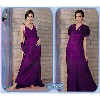 Hot 2pc Sleep Wear Nighty   Over Coat 6033 Voilet Ink Nightie   Robe ... f80126864