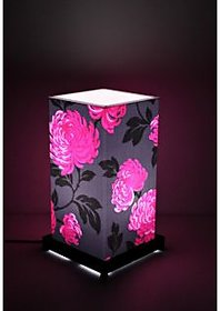Black  Pink Flower Table Lamp