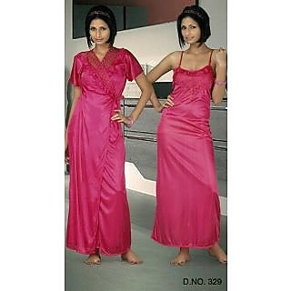 Daily Wear Womens Pink Nighty   Overlap New Sleep   Robe Set Satin 329  Night Gi at Best Prices - Shopclues Online Shopping Store 6953045f9