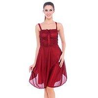 Clovia Red Nylon/Spandex Plain Babydolls For Women