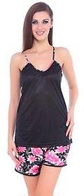 Fasense Women Satin Nightwear Top and Shorts (Black Pink) DP061 B