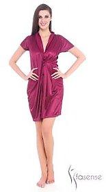 Fasense Women Satin Nihgtwear Night Gown (Wine) DP066 A