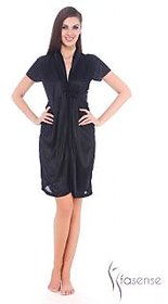 Fasense Women Satin Nihgtwear Night Gown (Black) DP066 B