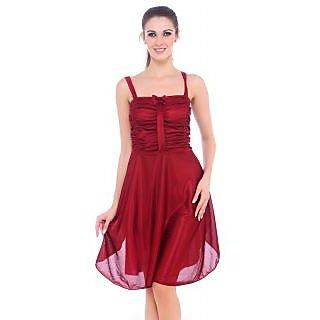 Fasense Red Nylon/Spandex Plain Babydolls For Women