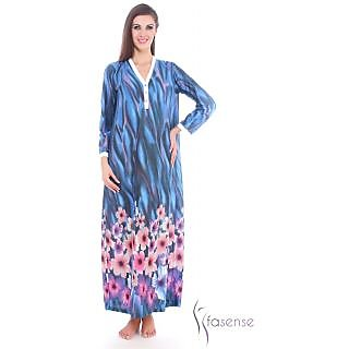 Fasense Women Cotton Nihgtwear Long Gown Full Slip (Cream Blue Multi) DP067 C