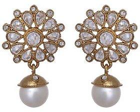 Arsya Jewellery -  Flower studded with pearls GOLDEN EARRINGS AO126