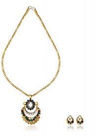 Ethnic Jewels Golden Alloy Earring & Pendant Set (Ey-356)