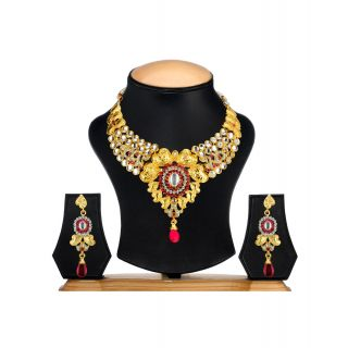 Ethnic Jewels Golden Alloy Earring & Necklace Set (Ey-359)