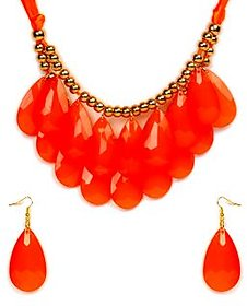 The Pari Red Alloy Earring & Necklace Set (Tpnw14-129)