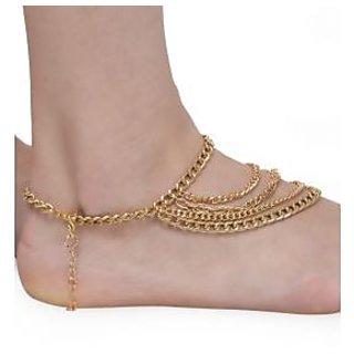 The Pari Gold Stylish Chain Anklet-1 (En-27)