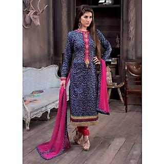 Swaron Black Dupion Silk Lace Salwar Suit Dress Material (Unstitched)