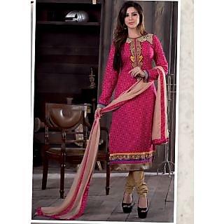 Swaron Pink  Beige coloured Mix Cotton Dress Material 203D2203 (Unstitched)