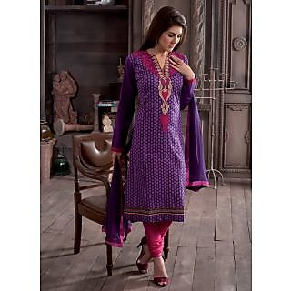 Swaron Maroon And Khaki Dupion Silk Lace Salwar Suit Dress Material (Unstitched)