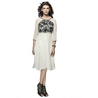 SuratTex White Embroidered Georgette Stitched Kurti