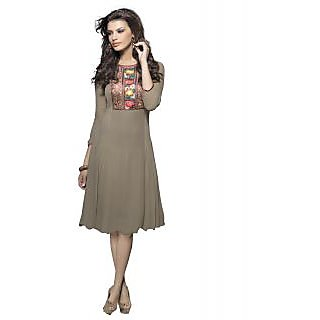 SuratTex Brown Embroidered Georgette Stitched Kurti
