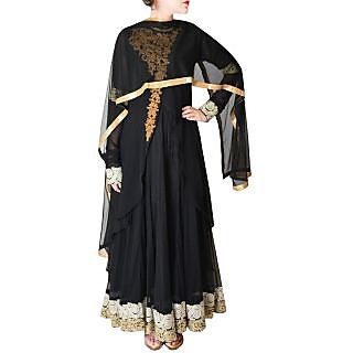 Women's Georgette Embroidered Black Suit