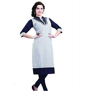 SuratTex Blue Printed Cotton Stitched Kurti