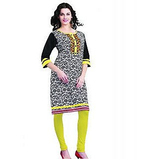 SuratTex Yellow Printed Cotton Stitched Kurti