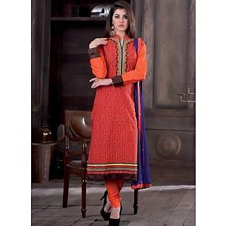 Swaron Orange coloured Mix Cotton Dress Material 203D2209 (Unstitched)
