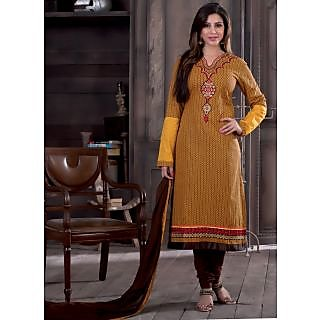 Swaron Yellow  Brown coloured Mix Cotton Dress Material 203D2212 (Unstitched)