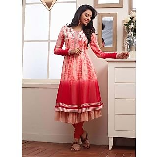 Swaron White  Red coloured Georgette Anarkali 202D2036