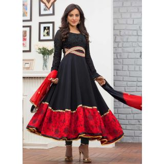 Swaron Black  Red coloured Georgette Anarkali 202D2039