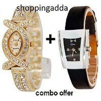 NEW Genx Leather Wrist Watch For Women+american Daimond Watch For Women