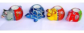 Terracotta hand painted animal candles combo pack 1