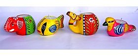 Terracotta hand painted animal candles combo pack 2