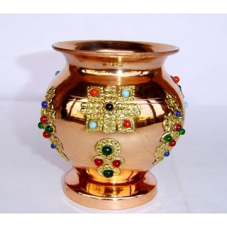 COPPER DECORATIVE LACQUER COATED POOJA KALASH (LOAT)