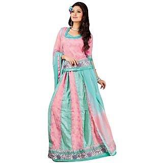 Triveni Pink Cotton, Jacquard  Embroidered Indian Lehenga Choli