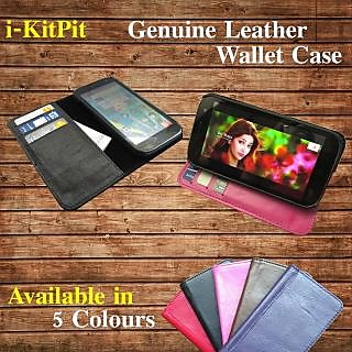 Karbonn Smart A9 Star : i-KitPit Genuine Leather Wallet Flip case - 5 Colours