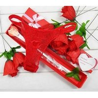 Novelty Red Rose Flower panties- G string/Thongs- 1 Qty