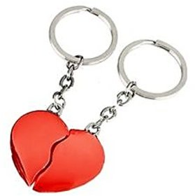 Split Heart Key Ring - Red