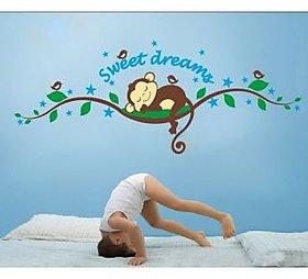 Walltola Animal PVC Multicolor Wall Sticker - Sweet Dreams Sleeping Monkey Nursery 7201 (120x47.5cm) (No. of Pieces 1)
