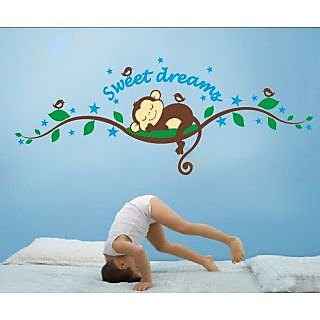 Walltola Animal PVC Multicolor Wall Decal - Sweet Dreams Sleeping Monkey Nursery 7201 (120x47.5cm) (No. of Pieces 1)