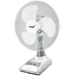 Eveready 14Inch RF03 355 Mm Rechargeable 3 Blade Table Fan (White)