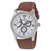 Evelyn Round Dial Brown Leather Strap Quartz Watch For Men