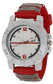 Evelyn Round Dial Red Pu Strap Quartz Watch For Men