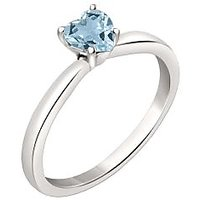 Silver Dew 925 Sterling Silver Solitaire Heart Aquamarine Ring